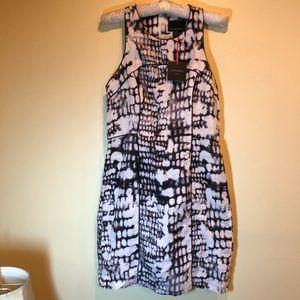 NWT Cynthia Rowley 100% linen black & white dress